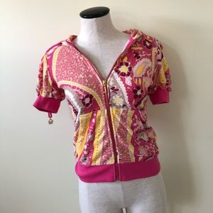 90s Juicy couture pink Gia paisley zip up hoodie